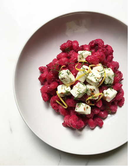 COOK WITH AGS: Beetroot Pesto Pasta with Marinated Feta