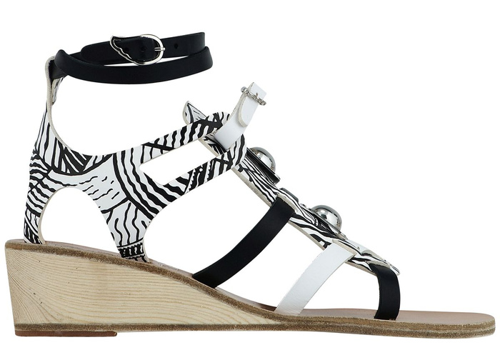 119d96c0dabd loader Ancient Greek Sandals with Peter Pilotto Gladiator Wedge Rivets Print  Black White