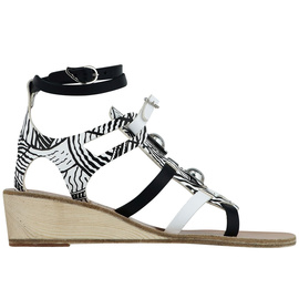 Ancient Greek Sandals with Peter Pilotto Gladiator Wedge - Print/Riv Blc&Wht