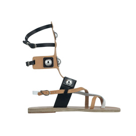 Ancient Greek Sandals with Peter Pilotto Low Gladiator - Rivets Nat/Blk/Wht
