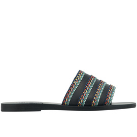 TAYGETE RAFFIA - BLACK / DARK MULTI STRIPES