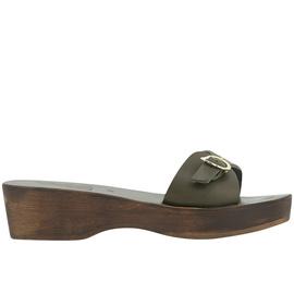 Filia Sabot - Khaki/Chestnut Heel