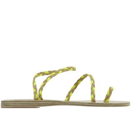 Ancient Greek Sandals with Lem Lem Eleftheria Braids - Nat/Neon Orange