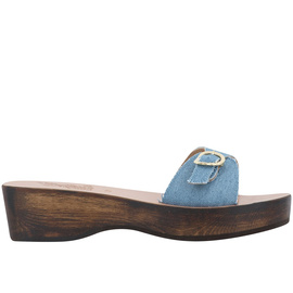 Filia Sabot - Light Denim/Chestnut