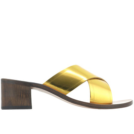 THAIS BLOCK - METAL YELLOW/CHESTNUT HEEL