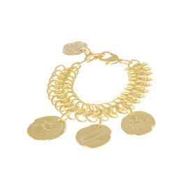 Triple Chains Coins Bracelet - Gold/Gold Coin
