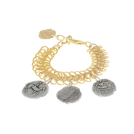 Triple Chains Coins Bracelet - Gold/Silver Coin