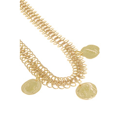 TRIPLE CHAIN NECKLACE - GOLD/GOLD COIN