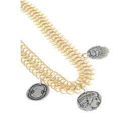 TRIPLE CHAIN NECKLACE - GOLD/SILVER COIN